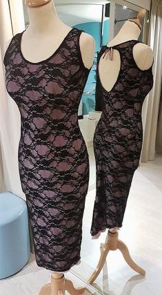 tangosolar abito rosa nero pizzo