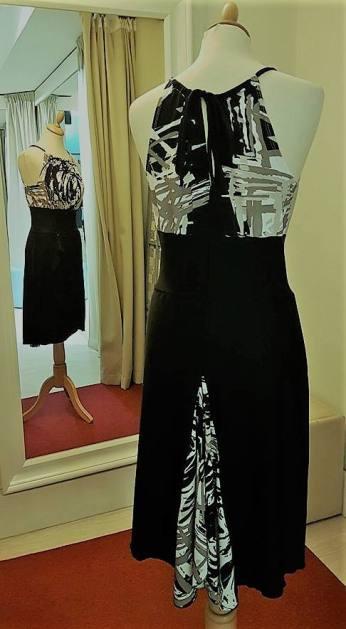 tangosolar torino abito nero fantasia bianco top schiena