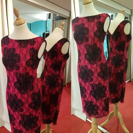 abito rosso nero pizzo tangosolar rose fiori