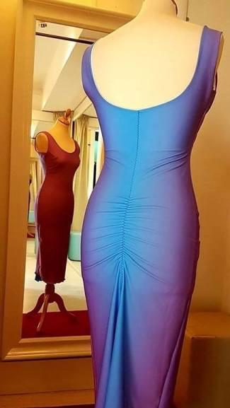 tangosolar abito blu arricciato