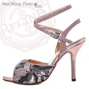 REGINA TANGO SHOES RICAMATE PERLINE ROSA