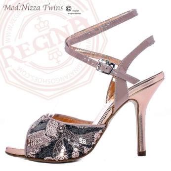 REGINA TANGO SHOES RICAMATE PERLINE ROSA