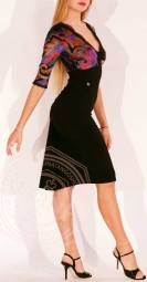 abito baileys nero e fantasia colorata regina tango shoes tangosolar