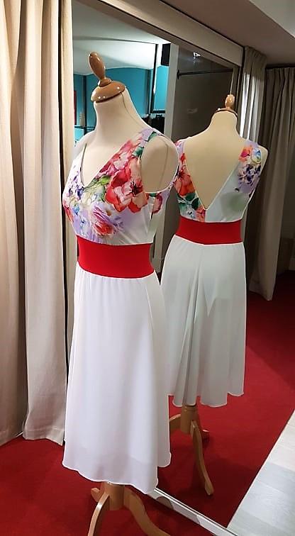 abito tangosolar torino bianco rosso fiori