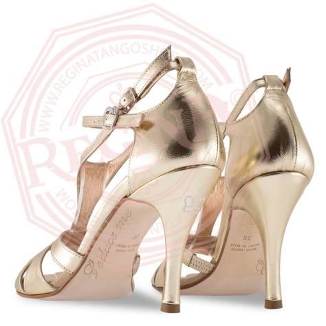 regina tango shoes scarpe ballo pelle oro sandalo tangosolar torino tacco alto