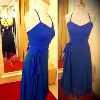 abito blu elettrico tangosolar completo gonna longuette top fiocco vita gonna