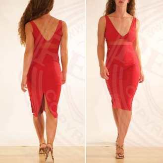 regina tango shoes Abito Leonia star rosso scollo vu schiena nuda tangosolar esclusiva torino 2