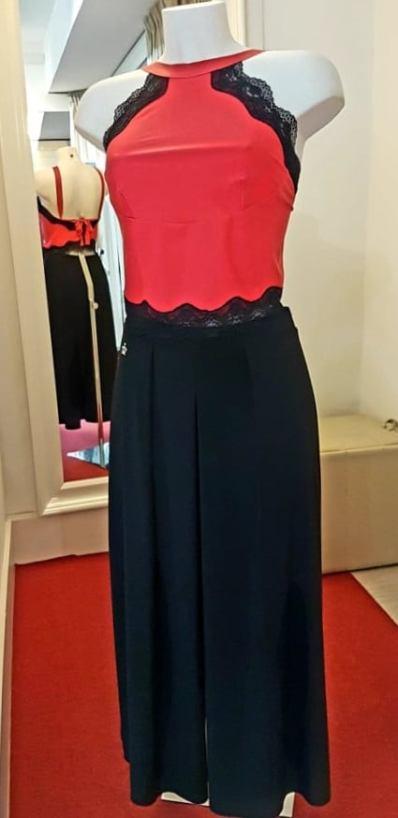 tangosolar completo top rosso pizzo nero pantalone largo nero