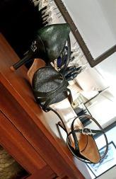 Mod. Eva 3 Twins Star color polvere di stelle verde scuro brillante scarpa da ballo tango tacco alto Regina Tango Shoes TangoSolar Torino