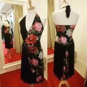 tangosolar torino abito incrocio floreale nero top coda colorata