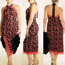 regina tango shoes abito floreale fantasia rosso nero allacciato collo schiena scoperta torino tangosolar scarpe tacco alto oro glitter