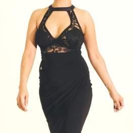 regina tango shoes vestito nero pizzo trasparente tangosolar torino