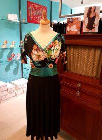tangosolar abito etoilè donna gonna nero corpetto fantasia fiori