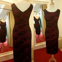 tangosolar abito rosso nero fantasia geometria longuette