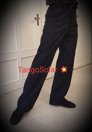 tangosolar pantalone uomo nero gessato senza pinces 1