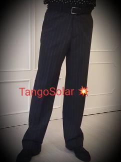 tangosolar pantalone uomo nero gessato senza pinces 2